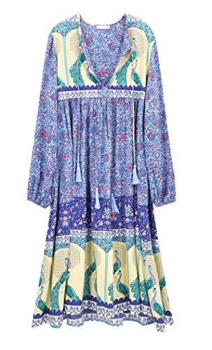 R.Vivimos Women's Long Sleeve Floral Print Retro V Neck Tassel Bohemian Midi Dresses (Blue, XL)