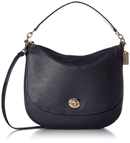 Coach TURNLOCK LEATHER HOBO BAG Navy