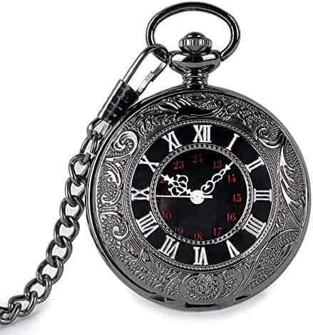 SwitchMe Vintage Quartz Pocket Watch Classic Black Roman Number Japan Movement with Belt Clip Chain