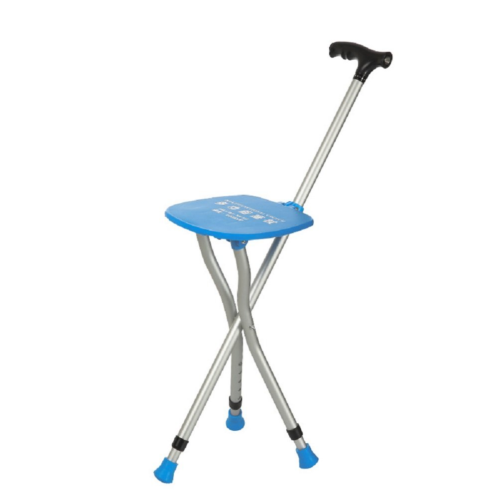 Cane Seat 300 lbs Capacity Combo Chairs Stool Folding Canes Seat Walking Stick Massage Crutches Seat Aluminum Walking Stick Travel Aid for Elder Blue