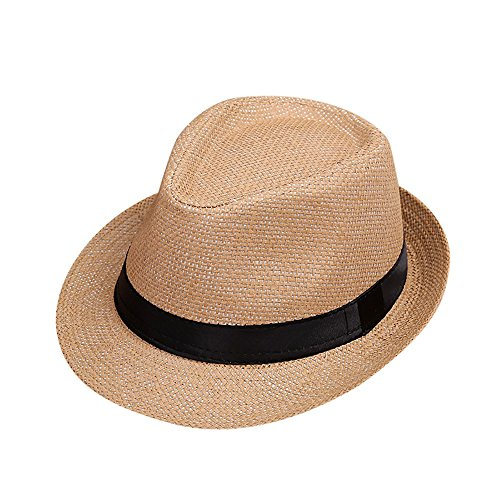 ❤️ Mealeaf ❤️ Children Kids Summer Beach Straw Hat Jazz Panama Trilby Fedora Hat Sun Protection Gangster Cap