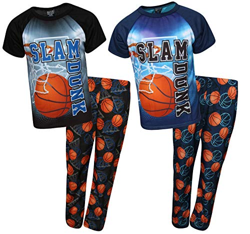 (Quad Seven Boys 4-Piece Graphic Sublimation Pajama Set - Large Fun Print Tops and Matching Pants, Slam Dunk, Size 16/18')