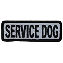 "HIGH VISIBILITY - Reflective SERVICE DOG Embroidered Patch (1""x3"" Small, Sew-on)"