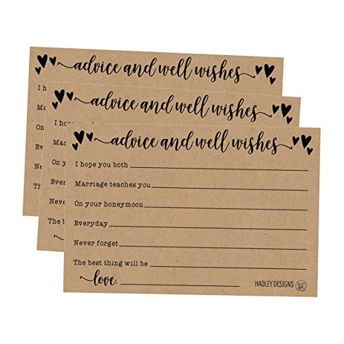 50 4x6 Kraft Rustic Wedding Advice & Well Wishes For The Bride and Groom Cards, Reception Wishing Guest Book Alternative, Bridal Shower Games Note Card Marriage Best Advice Bride To Be or For Mr & Mrs ()