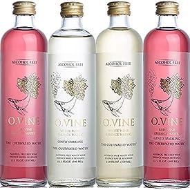 O Vine – Wine Grape Infused Essence Water – Variety Pack (3 Red Still, 2 Red Sparkling, 2, White Still, 2 White Sparkling) – 11.8 oz (9 Glass Bottles)