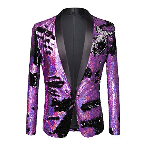 PYJTRL Men Stylish Two Color Conversion Shiny Sequins Blazer Suit Jacket (Purple + Black, XXXL/48R)