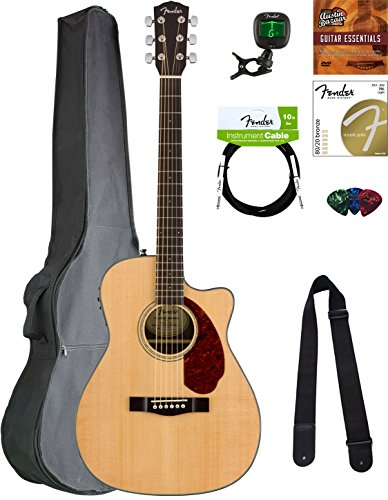 Fender CC-60SCE Concert Acoustic-Electric Guitar - Black Bundle with Hard Case, Tuner, Strap, Strings, Picks, Austin Bazaar Instructional DVD, and Polishing Cloth