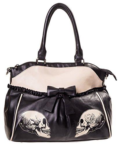 Banned Bag Skulls&Roses noir