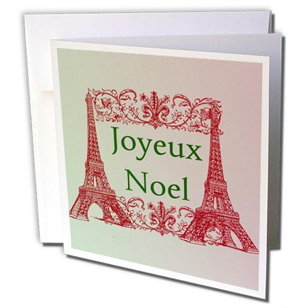 Joyeux Noel Eiffel Towers french Merry Christmas - Greeting Cards, 6 x 6 inches, set of 12 (gc_152141_2) (Christmas Merry Greeting French)