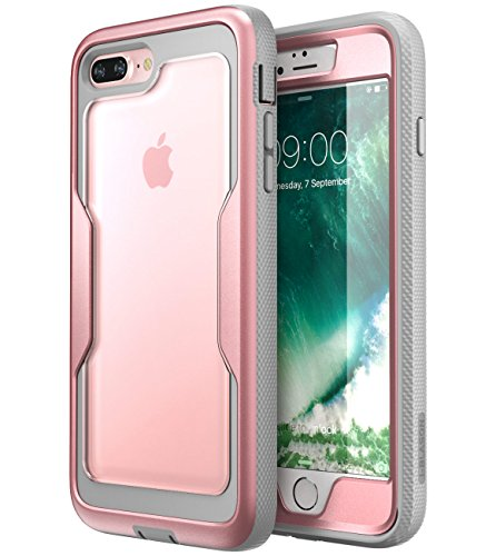 iPhone 8 Plus Case, iPhone 7 Plus case, i-Blason [Heavy Duty Protection] [Magma Series] Shock Reduction / Full body Bumper Case with Built-in Screen Protector for iPhone 8 Plus 2017 (RoseGold)
