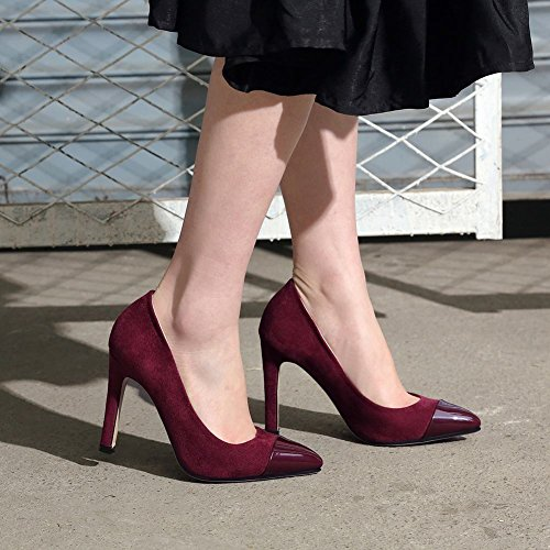 Carolbar Women's Contrast-Stitching Fashion High Heel Evening Court Shoes Wine Red zdx8Cw7PU