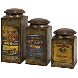 IMAX 73046-3 Addie Metal Canister Set – 3 Kitchen Containers with Vintage Label Wood, Handcrafted Food Containers. Food Storage, Organization