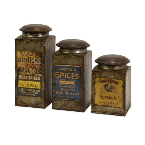 IMAX 73046-3 Addie Metal Canister Set - 3 Kitchen Containers with Vintage Label Wood, Handcrafted Food Containers. Food Storage, Organization
