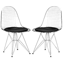 Poly and Bark Eames Eiffel DKR Style Wire Chair, Black, Set of 2
