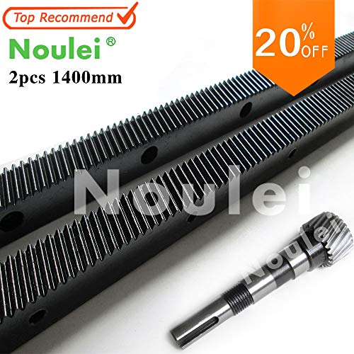 (Fevas Noulei 1.25mod 2pcs 1400mm Helical Gear Rack + 1pcs Shaft Gear CNC Router Right Hand 45 Steel Oblique Teeth Rack - (Brand: New, Number of Teeth: B-1400mm and 96mm))