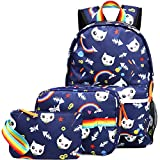 Kemy's Cat Backpack Set for Girls Kitty School Bookbag 3 Pieces Cute Rainbow Book Bags 14inch Laptop Bag for Girl