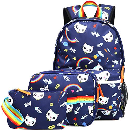 Kemy's Cat Backpack Set for Girls Kitty School Bookbag 3 Pieces Cute Rainbow Book Bags 14inch Laptop Bag for Girl, Navy Blue