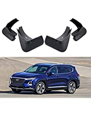 Car Mud Flaps Kit Mudguard Fender Replacement for Hyundai Santa Fe 2019 2020 2021 Molded Custom Front and Rear Mudflaps Splash Guards Fender Flares Auto Accessories 4-PC Set