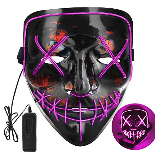 OUTYLTS LED Halloween Mask LED Scary Mask Cosplay Up Mask for Festival Cosplay Halloween Costume Mask EL Wire Light up for Festival Party Men Women Kids Raves Unisex