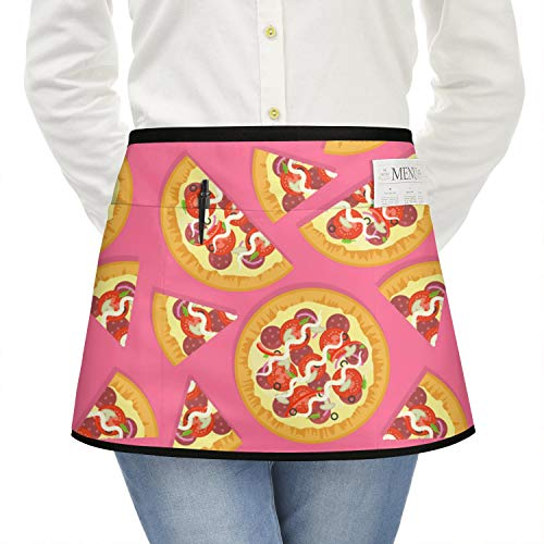 zyiirtpjfd Delicious Pizza Pink Backdrop Waitress Half Waitress Aprons for Women with Pockets