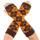 NUWFOR Ladies Girls Neon Sexy Long Fingerless Fishnet Lace High Elasticity Gloves ?Orange,21x7cm/8.3x2.8?