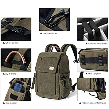 Zecti Sac /à dos professionnelle pour appareil photo antichoc Sac /à bandouli/ère en toile imperm/éable pour DSLR Grande capacit/é Verte