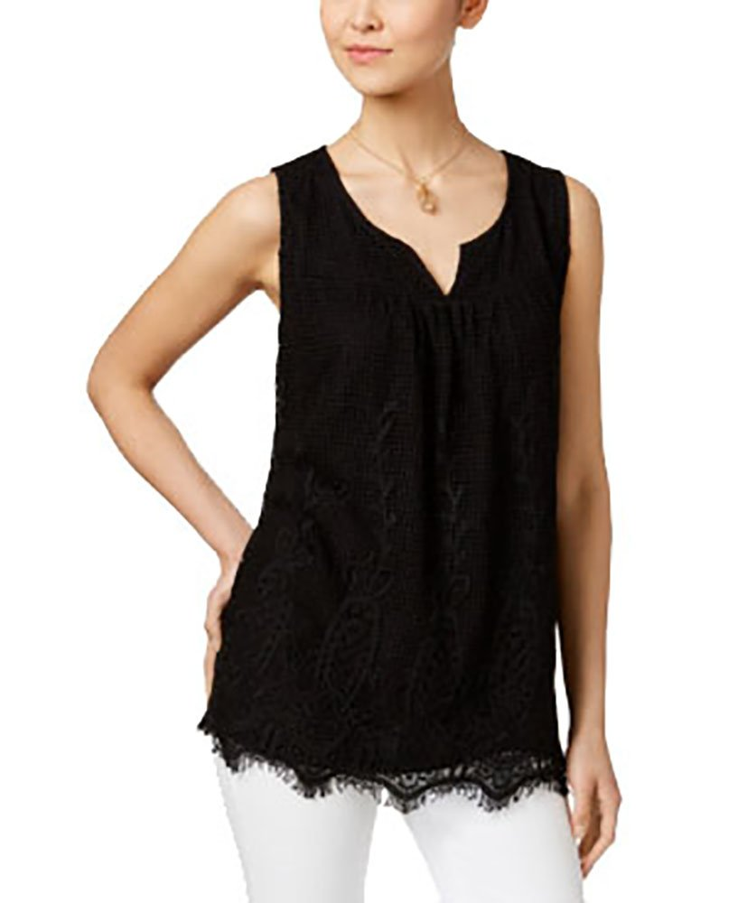 Style & Co.. Womens Petites Lace Front Sleeveless Blouse Black PM
