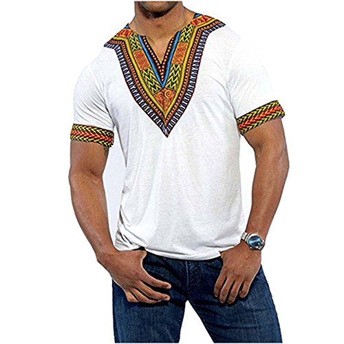 Gtealife Men's African Print Dashiki T-Shirt Tops Blouse (1-White, XL) by Gtealife