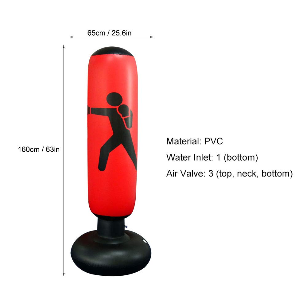 Inflatable Free-Standing Fitness Target Stand Tower Bag MMA Boxing Punching Kick Training Tumbler Bop Bag for Relieving Pressure Body Building Homeself Punch Bag 160cm