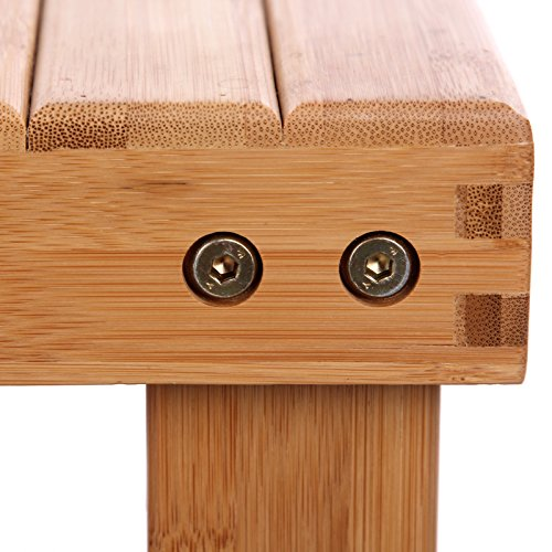 SONGMICS Bamboo Shoe Bench assembly bolts