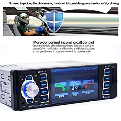 ODGear Single Din In Dash Car Stereo MP5 Player Radio USB/TF MP3 Stereo Audio Receiver Bluetooth FM Radio (Single Din)