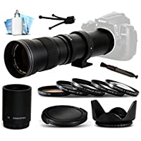 Opteka 420-1600mm f/8.3 HD Telephoto Zoom Lens Bundle Package includes 2X Teleconverter + 5 Piece UV-CPL-FL-Macro 10x-ND4 Filters + Tulip Hood + Cap Keeper + Air Dust Blower + Lens Pen + Cleaning Kit for Canon EOS 6D, 7D, 60D, 60Da, 70D, 100D, 550D, 600D, 650D, 700D, 1100D, 1200D, 5D Mark II III 2 3 5DM2 5DM3, 1D Mark 3 4 III IV 1Dx 1D X, Rebel SL1, T2i, T3, T3i, T4i, T5, T5i, Kiss X4, X5, X6i, X7i, X50, X70 DSLR SLR Digital Camera