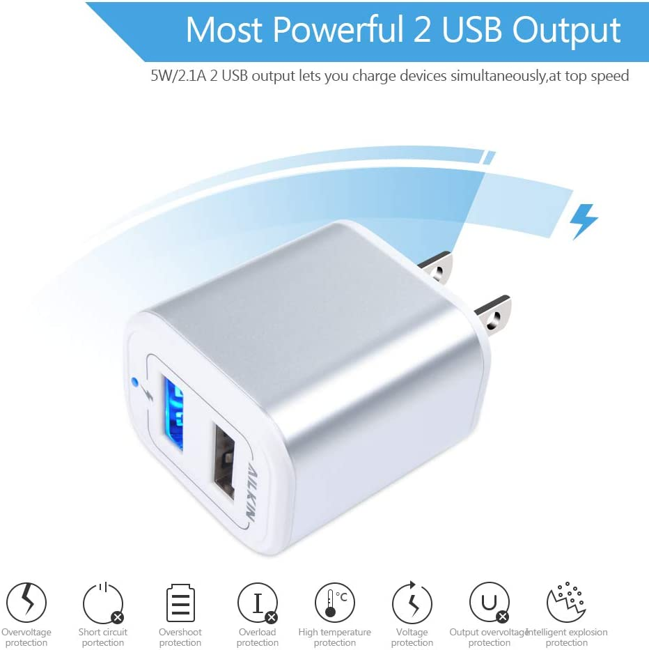 LG USB Charging Block Samsung S9 S8 S7 ZTE Ailkin Dual Port Wall Charger USB Box Power Adapter Cube Charge Base USB Charger Plug Power Brick Compatible with Phone X 8 7 6 Kindle and More