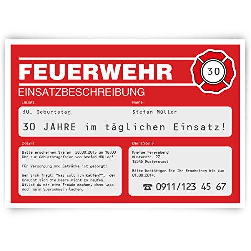 Einladungskarten Zum Geburtstag (40 Stück) Als Feuerwehr Einsatz Rot Feuer  Feuerwache: Amazon.de: Bürobedarf U0026 Schreibwaren