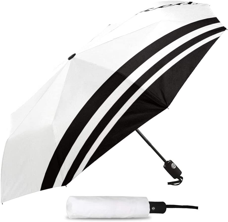 Travel Umbrella Windproof-Get Naked Black and White Stripe,Durable Folding Compact Umbrella for Outdoor Rainy Use Auto Open and Close Button