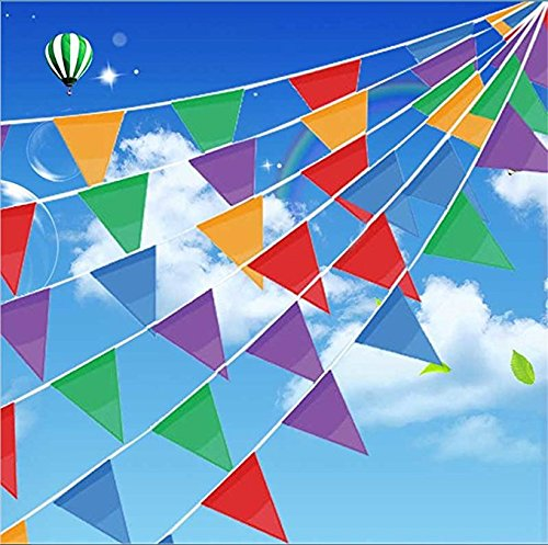 11' Sculpture - HUOELIU 100 Pcs Multicolor Pennant Banner Flags, 125 Ft for Party Decorations,Birthdays,Festivals,Christmas decorations (1125 Feet, Multicolor)