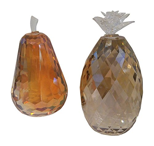 Fall Harvest Set of 2 Shimmer Crystal Paperweights for Autumn (Pear and Pineapple) (Fall Pear)
