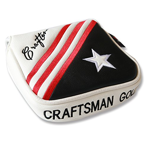 (Craftsman Golf Black White Red Stripes USA Star Square Large Mallet Putter Cover Headcover for Scotty Cameron Odyssey)