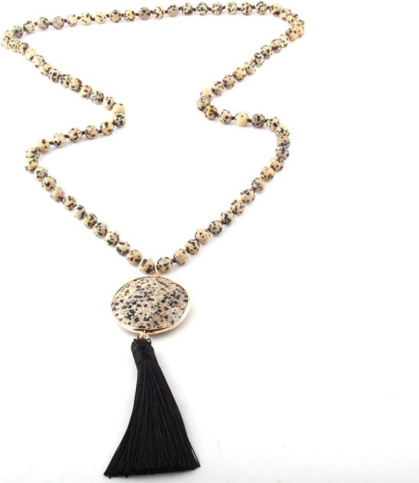Collar De Mujer, Joyería Negra Bohemia De Moda Piedras Semipreciosas Anudadas Largas A Juego Enlaces De Piedra Collares De Borla para Mujer Collar Étnico