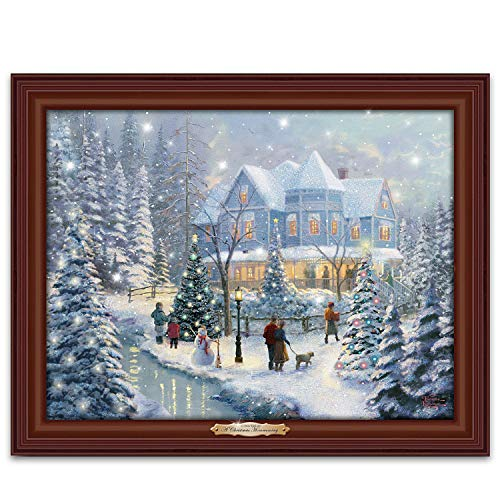 (Thomas Kinkade A Christmas Homecoming Musical Canvas Print Wall Decor Lights Up with Snowfall Effect)