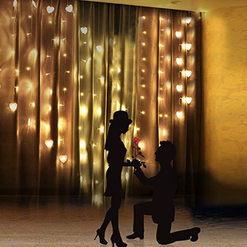Tuscom 2M x 1.5M 124 Lights Love LED Lights   Lover Heart Curtain Lights Wedding Room Decoration White Ice Curtain Lamp Light String Airy Outdoor Xmas Garden Decor Lamp (Yellow) by Tuscom@ (Image #7)