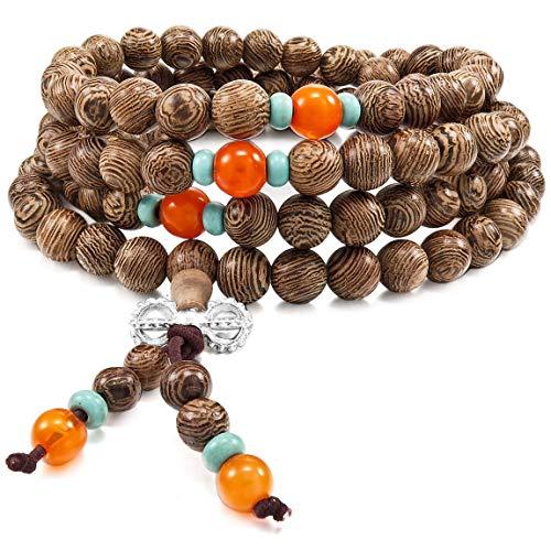 INBLUE Women,Men's 8mm Wood Bracelet Link Wrist Necklace Chain Tibetan Buddhist Brown Bead Prayer Buddha Mala Chinese Elastic ()