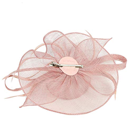 (Pengy Women's Elegant Fascinator Hat Bridal Feather Hair Clip Accessories Cocktail Royal Ascot Hair Decor Pink)