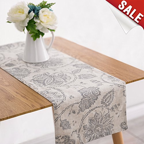 Table Runner Linen Textured 13 x 72 inch Scroll Pattern Decorative Burlap Tablecovers Rustic Floral Design Handcrafted Flax Tablecloths, Grey