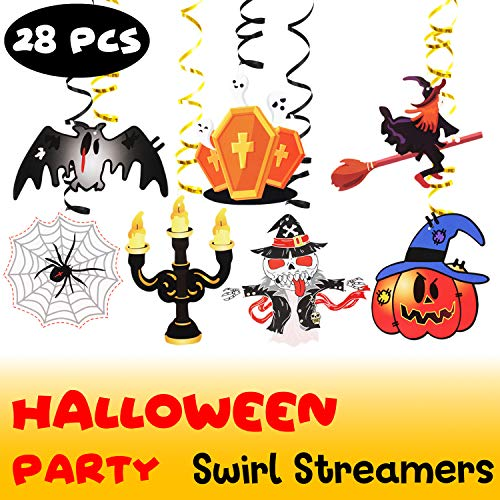 Halloween Foil Swirls Streamers Party Supplies Spiders Tombstone Ghost Witch Pumpkin Halloween Party Decoration Room Ornament - 28 Pcs NO DIY REQUIRED