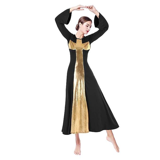 a4ae559392b Amazon.com  Women Metallic Color Block Bell Long Sleeve Praise Dance Dress  Liturgical Full Length Gowns Dancewear Worship Costume  Clothing