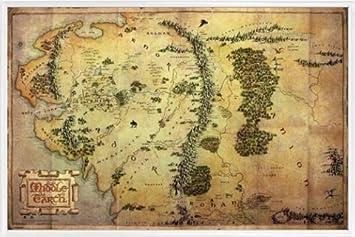 Der Hobbit Poster Und Kunststoff Rahmen Landkarte Von Mittelerde