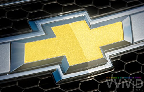 VViViD Reflective Gold Auto Emblem Vinyl Wrap Overlay Cut-Your-Own Decal for Chevy Bowtie Grill, Rear Logo DIY Easy to Install 11.80 Inches x 4 Inches Sheets (x2)