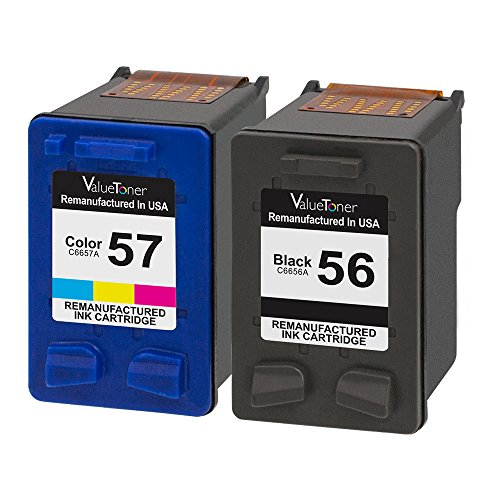 Valuetoner Remanufactured Ink Cartridges for HP 56 & HP 57 C9321BN C6656AN C6657AN (1 Black, 1 Tri-Color) 2 Pack for HP Deskjet 5550 5650 5150, Photosmart 7350 7260 7450 7550 7760, PSC 2210 Printer (Ink Black C6656an 56)