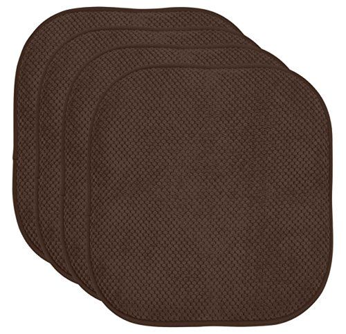 "4 Pack: Ellington Home Non Slip Memory Foam Cushion Chair Pads - 17"" x 16"" - Brown"